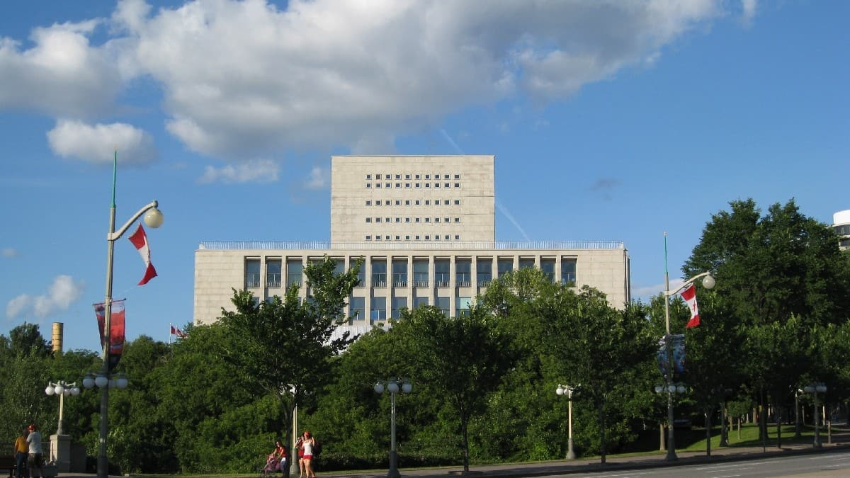 West elevation of Archives and National Library Building