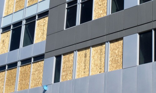 New building west elevation cladding detail
