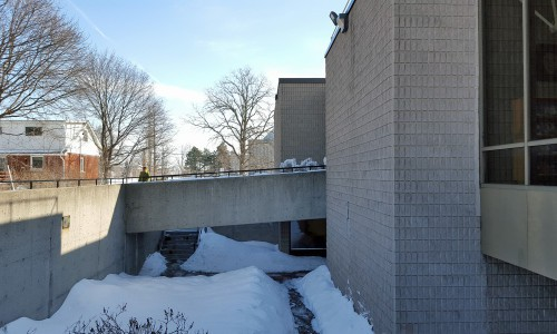 Looking east above the courtyard towards the main entrance bridge