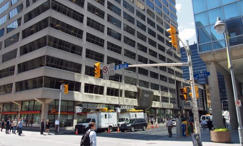 Corner of Bank and Queen Streets, highlighting the Queen Street elevation