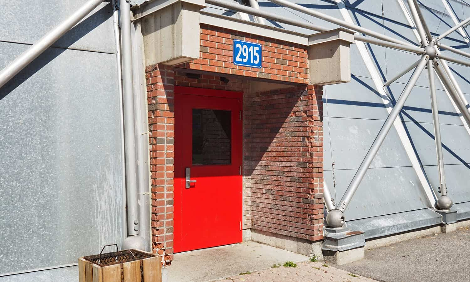 The very modest main entrance into the building