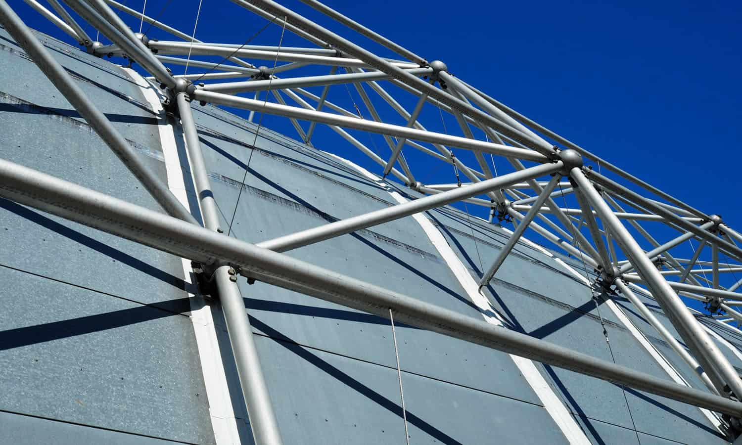 Detail of the metal structure against the sky