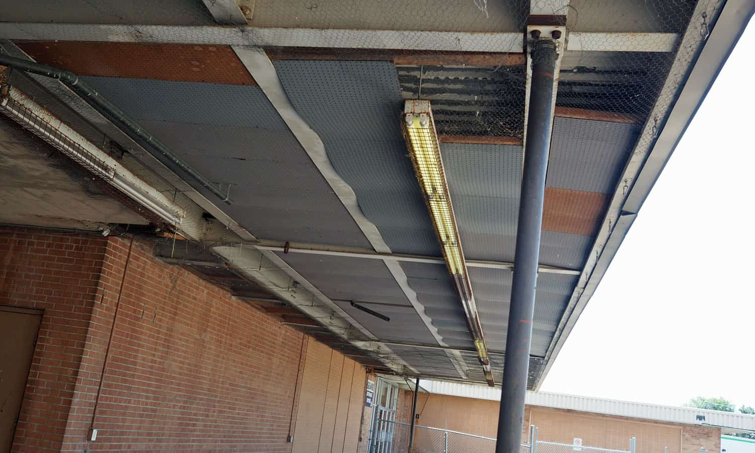 Underside of a canopy on the west side of the store